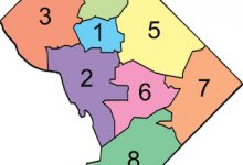 A map of D.C.'s eight wards (Courtesy of Wikimedia Commons)