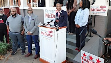D.C. Council member Kenyan McDuffie announces his bid for the city's attorney general during an Oct. 21 press conference outside his Ward 5 home. (Courtesy of McDuffie via Twitter)
