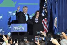 Vice President Kamala Harris (right) joins Virginia gubernatorial candidate Terry McAuliffe for a campaign rally in Dumfries, Va., on Oct. 21. (Robert R. Roberts/The Washington Informer)