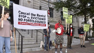 Sean Blackmon speaks during a rally calling for the extension of the STAY DC program, designed to help District residents adversely affected by the coronavirus pandemic with rental and utility assistance, at the John A. Wilson Building on Oct. 24. (Robert R. Roberts/The Washington Informer)