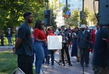 This past September, protesters including Ward 8 ANC Salim Adofo and Marie, representing Haitian professionals, asked for support for Haitians in Texas who faced deportation. (Courtesy photo)