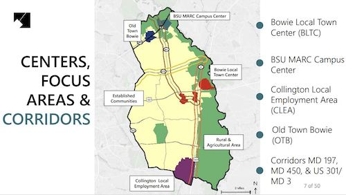 A map outlines the areas for a proposed master plan to enhance the Bowie-Mitchellville corridor in Prince George's County. (Screen shot: Courtesy of Maryland-National Capital Park and Planning Commission)