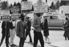Fair housing protest in Lake City, 1964 noted that without bank loans, few had the ability to establish a decent FICO score. (Courtesy of Seattle Municipal Archives)
