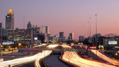 **FILE** The Atlanta city skyline at dusk overlooking the interstate (Wikimedia Commons)