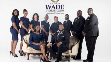 Staff of the Kendal Wade Funeral Home & Cremation Services LLC (from left0 London Shepherd, Kendra Barnes, Lashawn Wade, Ann Taylor, Brenda Wade, Ocie Miller, Marques Dyer, Caleb Camara and seated left to right are Toria Walker and Kendal Wade. (Photo courtesy of Esinej Photography LLC)