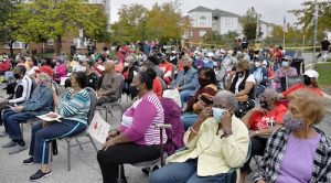 Cameron Grove, a 55-and-older residential community in Upper Marlboro, holds a rally Oct. 13 opposing a rezoning plan at Six Flags America with the potential to bring additional businesses a mile away. (Anthony Tilghman/The Washington Informer)