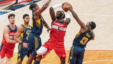 Washington Wizards forward Montrezl Harrell battles for a rebound during a 135-134 win over the Indiana Pacers at Capital One Arena in D.C. on Oct. 22. (Abdullah Konte/The Washington Informer)