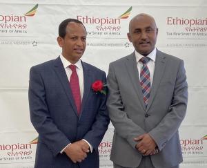 Ethiopian Ambassador Fitsum Arega and Nigusu Works, director of Regional Sales and Services USA, Ethiopian Airlines