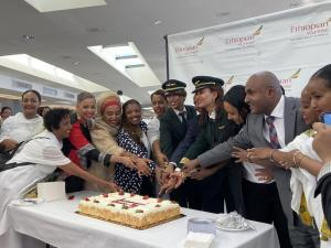 International Women's Day is celebrated by Ethiopian and D.C. officials and members of the all-female crew of Ethiopian Airlines at Dulles International Airport on Sunday, March 7.