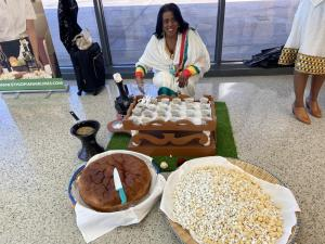 Ethiopian coffee and pastries marked the celebration of International Women's Day at Dulles Airport.